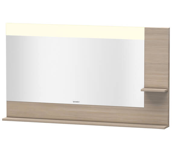 Additional image of Duravit Vero 1400mm White Mirror With Light And Shelves to Right Side And Below