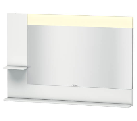 Duravit Vero 1200mm Mirror With Light And Shelves to Left Side And Below