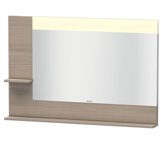 Additional image of Duravit Vero 1200mm Mirror With Light And Shelves to Left Side And Below