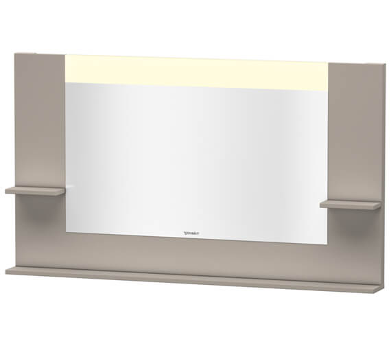 Additional image of Duravit Vero 1400mm White Matt Mirror With Shelves To Sides And Below