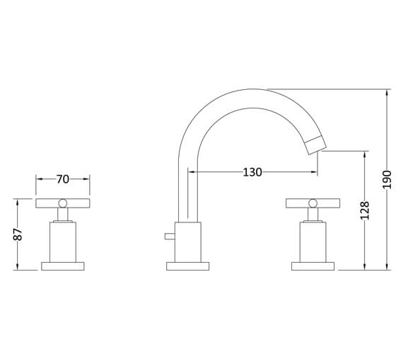 Additional image of Hudson Reed Tec 3 Tap Hole Basin Mixer Tap