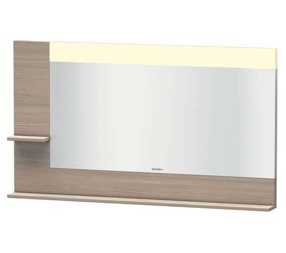 Additional image of Duravit Vero 1400mm White Mirror With Light And Shelves To Left Side And Below
