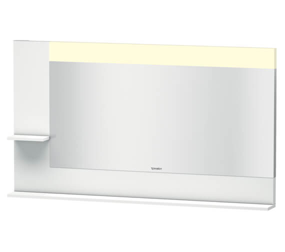 Duravit Vero 1400mm White Mirror With Light And Shelves To Left Side And Below