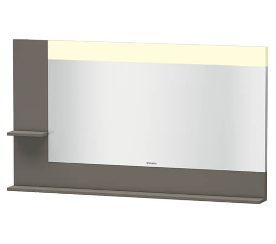 Alternate image of Duravit Vero 1400mm White Mirror With Light And Shelves To Left Side And Below