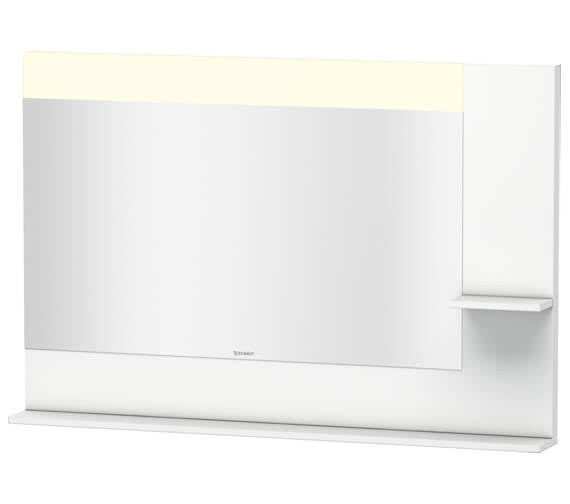 Duravit Vero 1200mm Mirror With Light And Shelves to Right Side And Below