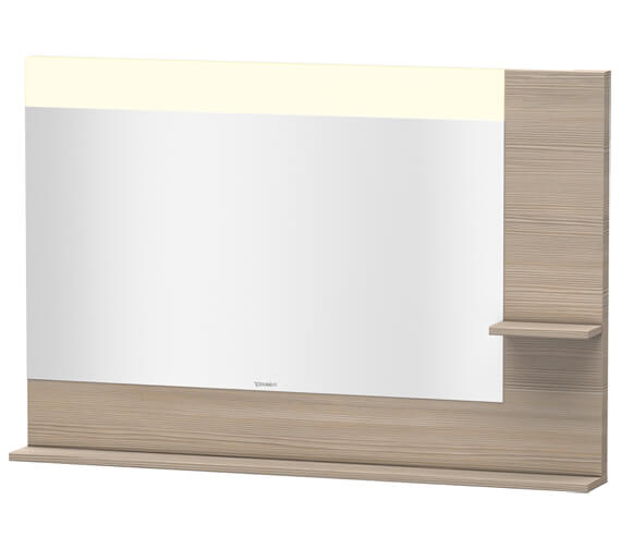 Additional image of Duravit Vero 1200mm Mirror With Light And Shelves to Right Side And Below