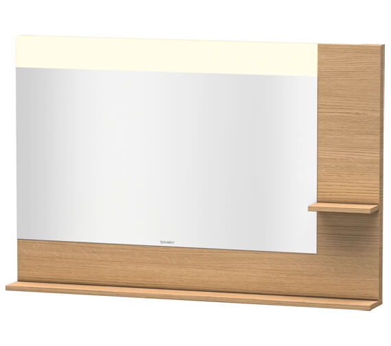 Alternate image of Duravit Vero 1200mm Mirror With Light And Shelves to Right Side And Below