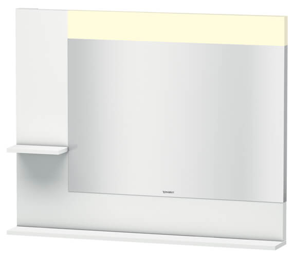 Duravit Vero 1000mm White Mirror With Light And Shelves to Left Side And Below