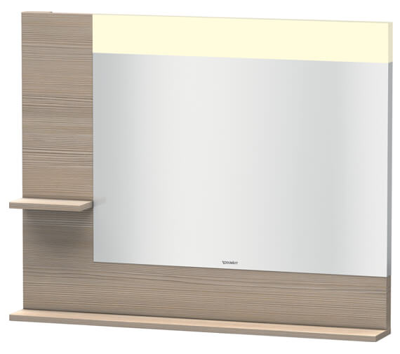 Additional image of Duravit Vero 1000mm White Mirror With Light And Shelves to Left Side And Below