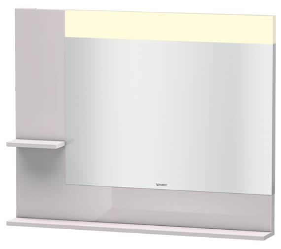 Alternate image of Duravit Vero 1000mm White Mirror With Light And Shelves to Left Side And Below