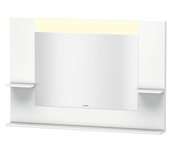 Duravit Vero 1200mm White Matt Mirror With Shelves To Sides And Below