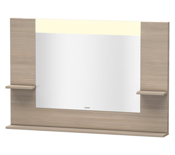 Additional image of Duravit Vero 1200mm White Matt Mirror With Shelves To Sides And Below