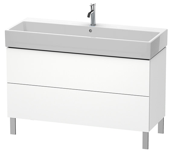 Duravit L-Cube 1184mm White Matt Floor Standing Vanity Unit With Vero Air Basin