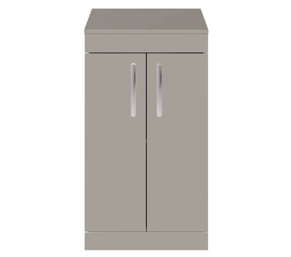 Nuie Premier Athena 500mm Floor Standing Cabinet With Worktop Gloss White Finish