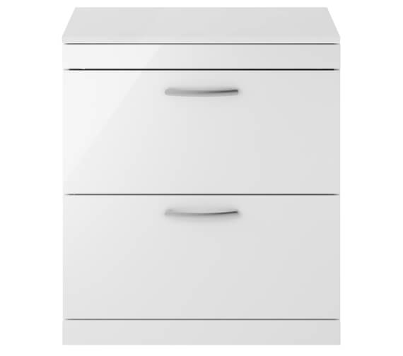 Premier Athena 800mm 2 Drawer Floor Standing Vanity Unit With Worktop Gloss White Finish