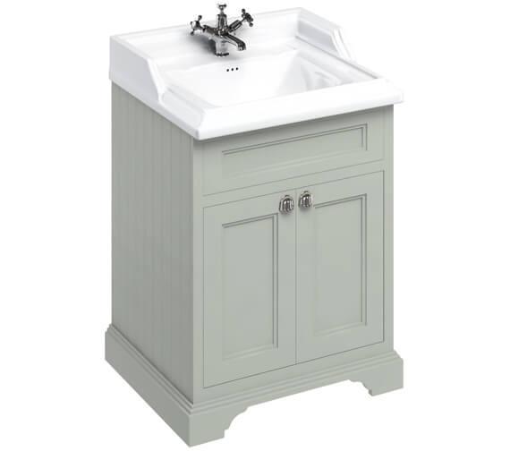 Additional image of Burlington 650mm Freestanding Matt White Two Door Vanity Unit With Classic Basin
