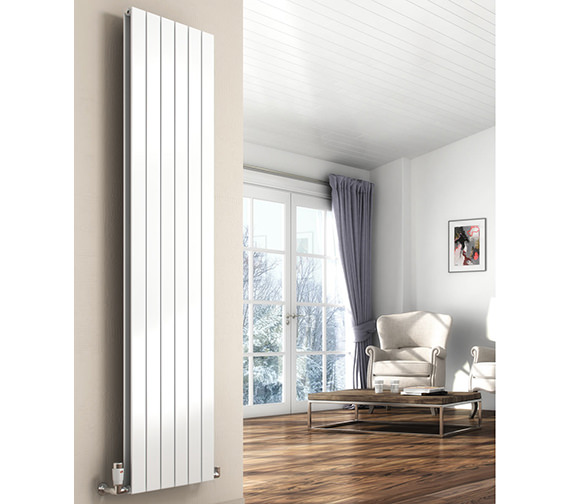 Reina Flat 1800mm High Double Panel Vertical Steel Designer Radiator White Or Anthracite  218mm Wide