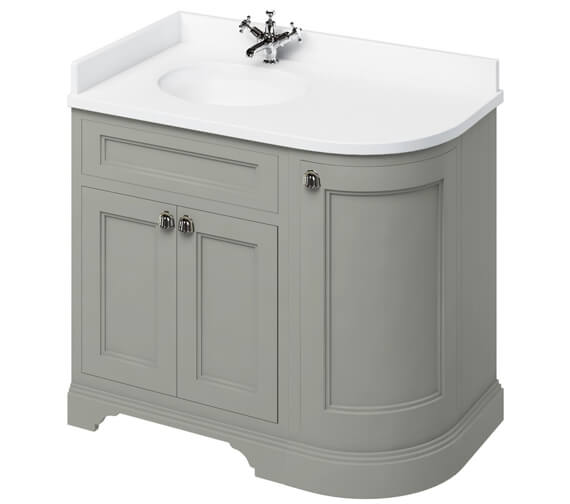 Additional image of Burlington Freestanding 1000mm Matt White Left Hand Curved Vanity Unit