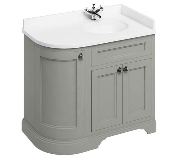 Additional image of Burlington Freestanding Matt White 1000mm Right Hand Curved Vanity Unit
