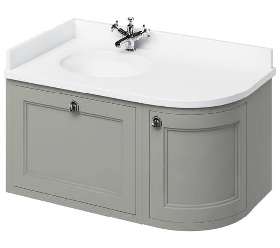 Additional image of Burlington 1000mm Wall Hung Left Hand Curved Vanity Unit Matt White With Worktop And Basin