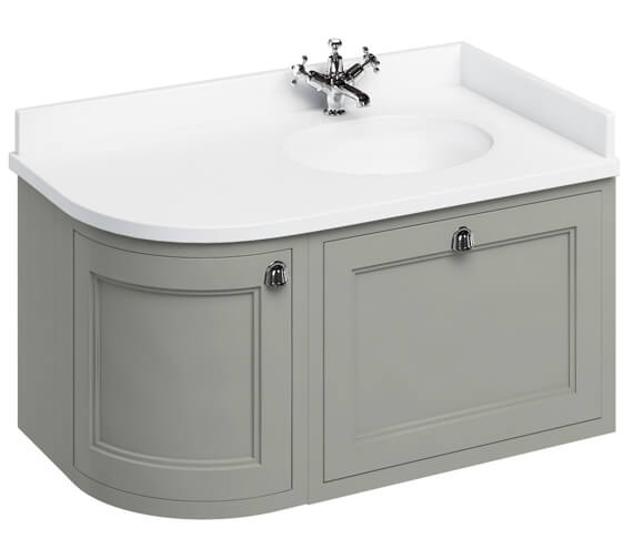 Additional image of Burlington 1000mm Right Hand Curved Vanity Unit Matt White With Worktop And Basin