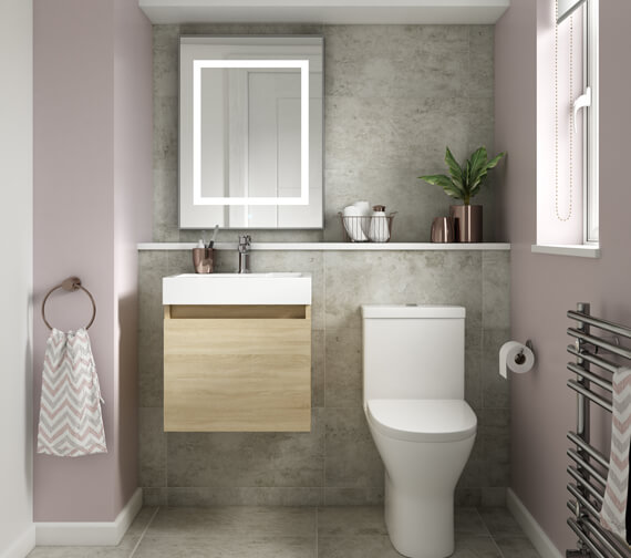 Premier Merit 500mm Single Door Driftwood Wall Hung Vanity Unit With Basin