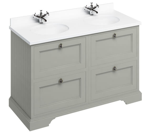 Additional image of Burlington 1300mm Matt White 4 Drawer Unit And Minerva Worktop With Basin