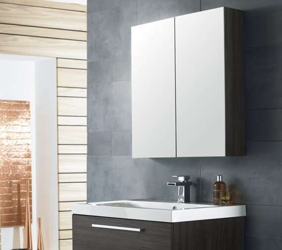 Nuie Premier Athena 800mm Wall Mounted Mirror Unit Gloss White Finish