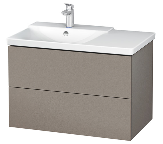 Additional image of Duravit L-Cube 820mm White Matt Vanity Unit With P3 Comforts Basin - Bowl On Left