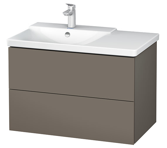 Duravit L-Cube 820mm White Matt Vanity Unit With P3 Comforts Basin - Bowl On Left