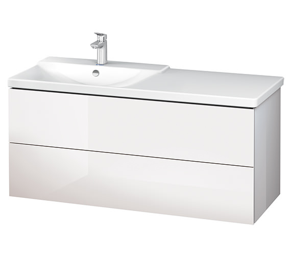 Alternate image of Duravit L-Cube 1220mm White Matt Vanity Unit With P3 Comforts Basin - Bowl On Left