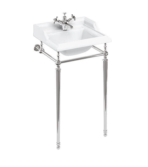 Burlington Classic Basin 500mm Basin With Chrome Wash Stand - B20 1TH - T52 CHR