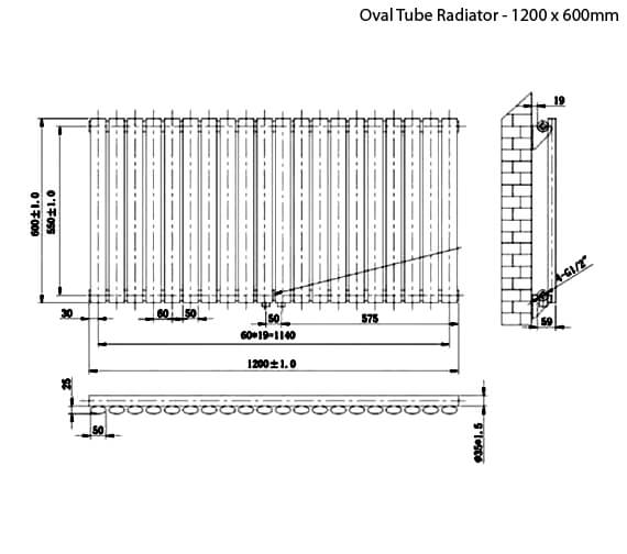 Additional image of Phoenix Louise 600mm Height Oval Tube Radiator - More Width Sizes Available