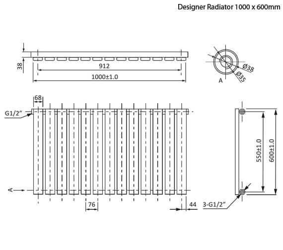 Additional image of Phoenix Orla 600mm Height Horizontal Designer Radiator Chrome