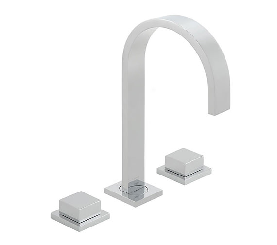 Vado Geo Square Handle 3 Hole Deck Mounted Basin Mixer Tap