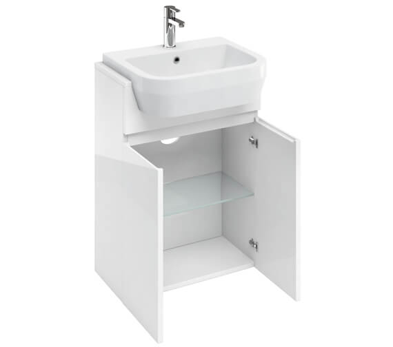 Britton D30 600mm Semi Recessed Basin Unit White