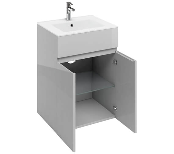 Additional image of Britton D45 600 x 460mm White Double Door Unit With Basin