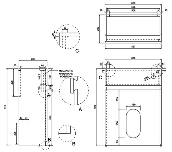 Technical drawing QS-V8083 / AW31W