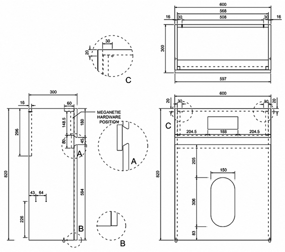 Technical drawing QS-V8084 / AW32W