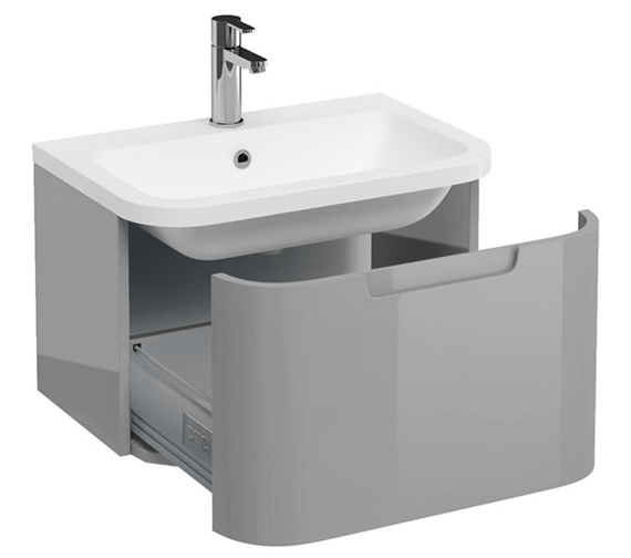 Additional image of Britton Compact Single Drawer White Vanity Unit With Basin