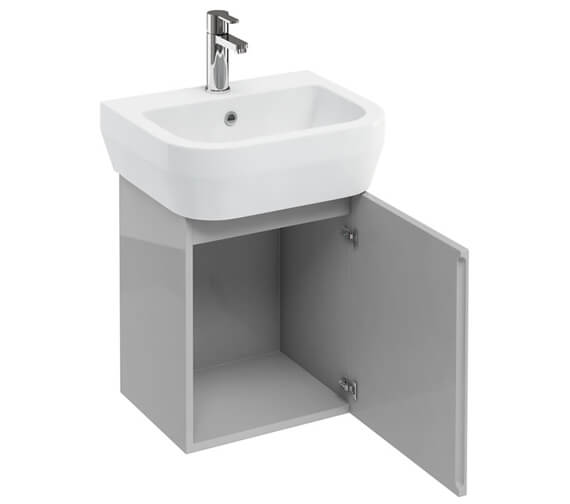 Additional image of Britton Aqua Cube 500mm White Wall Hung Unit With Basin