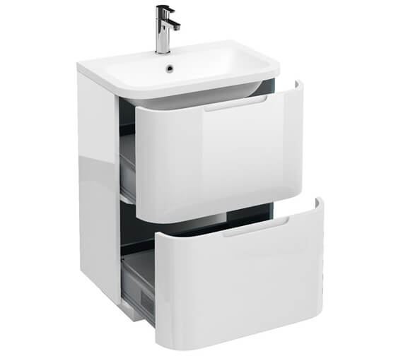 Britton Compact 2 Drawer 600mm White Vanity Unit With Quattrocast Basin