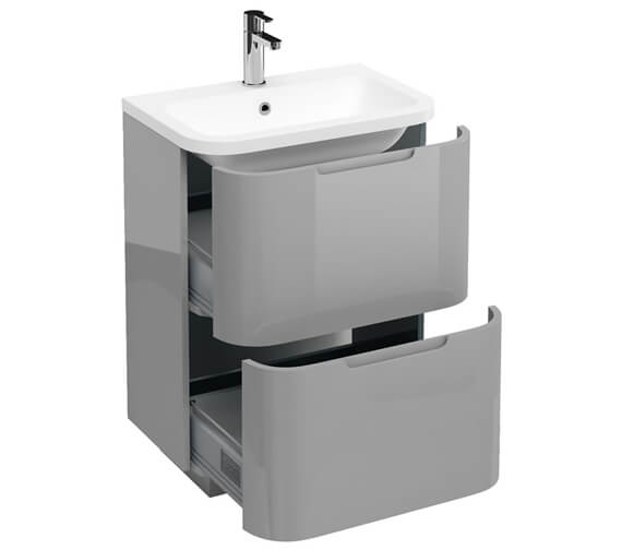 Additional image of Britton Compact 2 Drawer 600mm White Vanity Unit With Quattrocast Basin