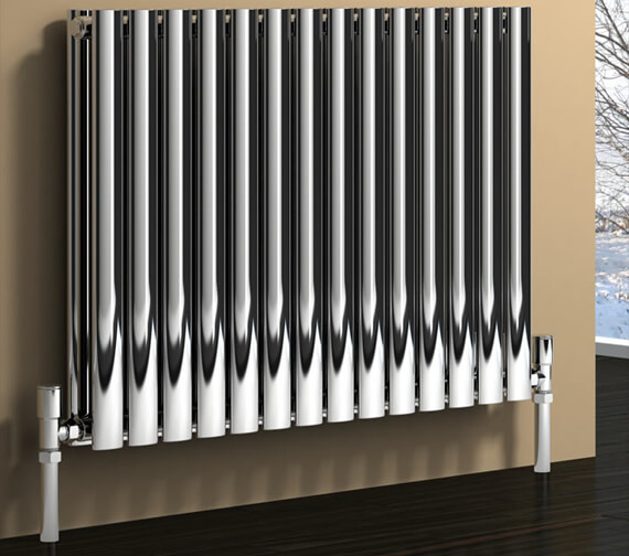 Reina Nerox 600mm High Double Panel Horizontal Radiator In Polished Or Brushed Finish 413mm Wide