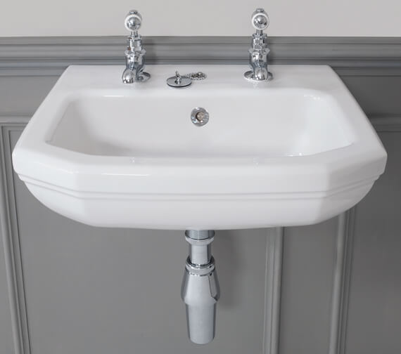 Silverdale Empire 450 x 380mm 2 Taphole Cloakroom Basin