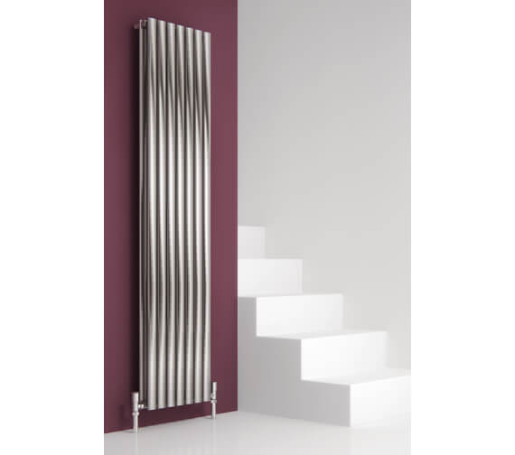Reina Nerox 1800mm High Double Panel Vertical Radiator In Brushed Or Polished Finish 295mm Wide