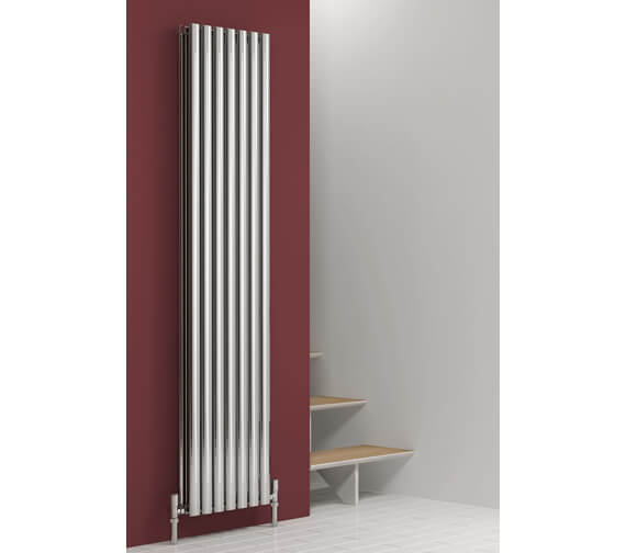 Alternate image of Reina Nerox 1800mm High Double Panel Vertical Radiator In Brushed Or Polished Finish 295mm Wide