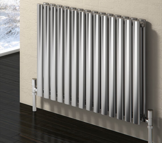 Alternate image of Reina Nerox 600mm High Double Panel Horizontal Radiator In Polished Or Brushed Finish 413mm Wide