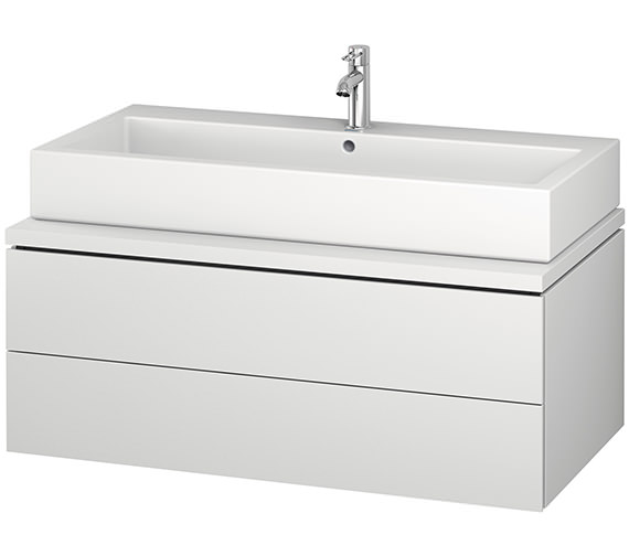Duravit L-Cube 1020mm White Matt Double Drawer Wall Hung Vanity Unit For Console