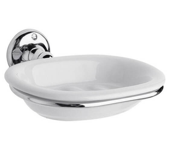 Hudson Reed Traditional Ceramic Soap Dish With Chrome Holder